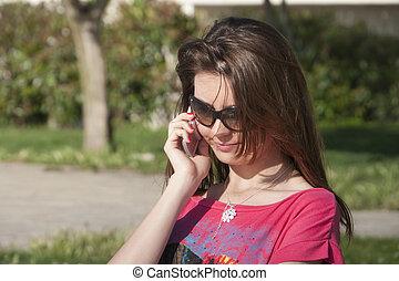 Beautiful Girl phone talking park