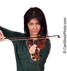 beautiful girl play music on violin