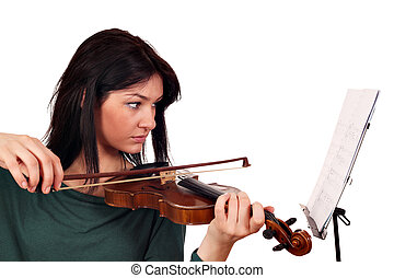 beautiful girl play violin