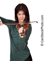 beautiful girl play violin portrait on white background