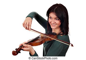 beautiful girl play violin portrait on white