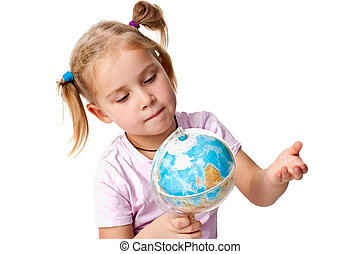 Beautiful girl playing with a globe