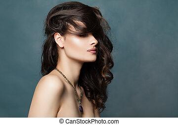 Beautiful girl portrait. Brunette woman