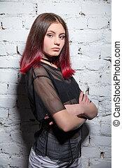Beautiful girl posing in studio