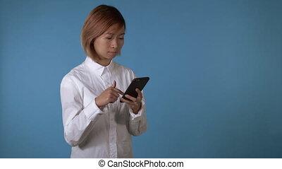 beautiful girl posting in social media use mobile