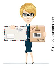Beautiful girl postman, vector illustration