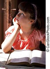 Beautiful Girl Reading Holy Bible