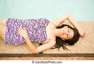Beautiful Girl Relax By Pool