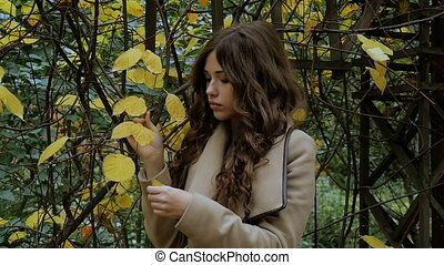 Beautiful girl, sad mood, autumn park. - Beautiful girl, sad...
