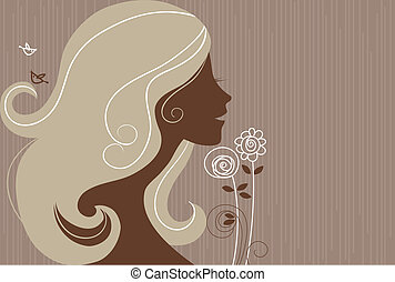 Beautiful girl silhouette with a flowers