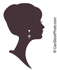 beautiful girl silhouette with stylish hairstyle