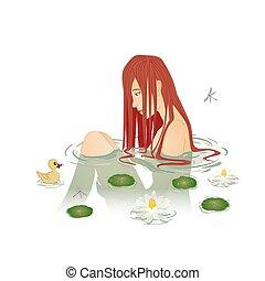 beautiful girl sitting in the water