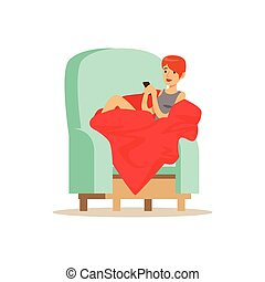 Beautiful girl sitting on a light blue armchair wrapped in a red blanket, woman resting at home vector Illustration
