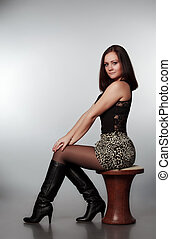 beautiful girl sitting on chair