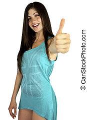 Beautiful girl smiling showing thumb up