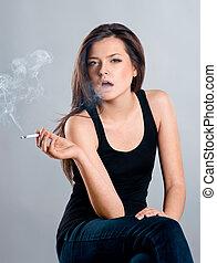 beautiful girl smoking a cigarette - Attractive brunette ...