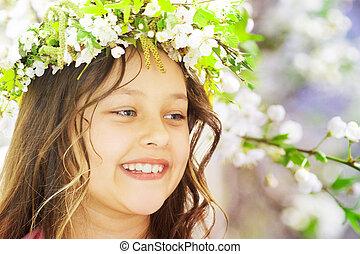 beautiful girl spring