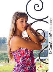 Beautiful girl standing alone