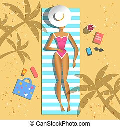 Beautiful girl sunbathing on beach. Vector flat.