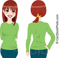 Front and back view of beautiful auburn hair girl wearing green tight long sleeve t-shirt