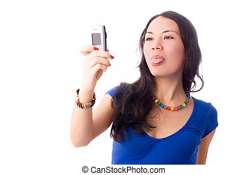 beautiful girl taking a picture of herself