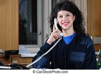 Beautiful girl - the operator of fire service