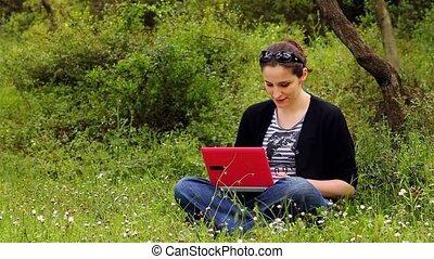 beautiful girl using computer in countryside 3