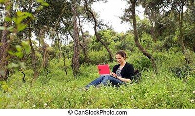 beautiful girl using computer in countryside 4
