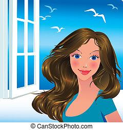 Beautiful girl. Vector art-illustration.