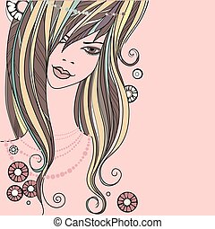 beautiful girl - vector illustration on white background