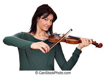 beautiful girl violinist on white