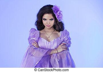 Beautiful Girl wearing Long Chiffon dress. Fashion photo portrait