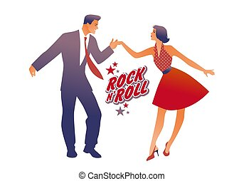 Beautiful girl wearing red retro dress and handsome man ...
