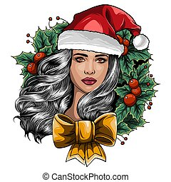 Beautiful girl wearing santa claus clothes on white background. Vector Illustration