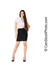 beautiful girl wearing skirt and shirt stands