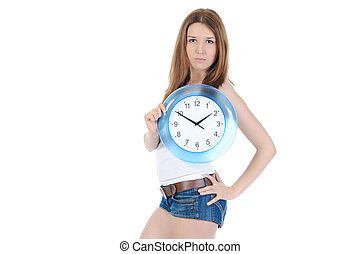beautiful girl with a clock in his hand
