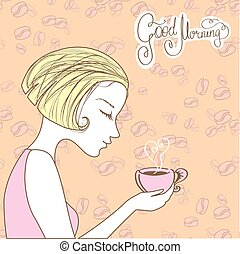 beautiful girl with a cup of coffee, good morning