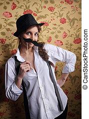 Beautiful girl with a cute mustache