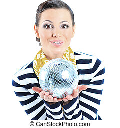 Beautiful girl with a mirror sphere on a white background...