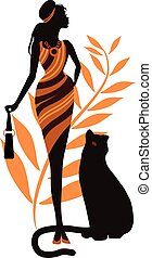 Beautiful girl with a panther. Fashion woman concept stylish...