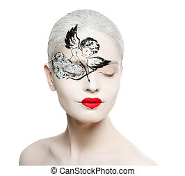 Beautiful girl with a picture on the face of Cupid. Red heart-shaped lips. On a white background.