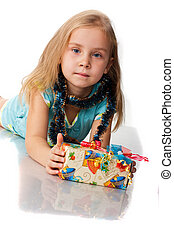 Beautiful girl with a present isola
