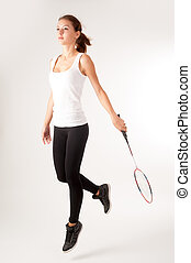 Beautiful girl with a racket in hands - Pretty fit woman ...