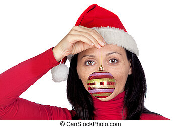 Beautiful girl with a red Christmas ball