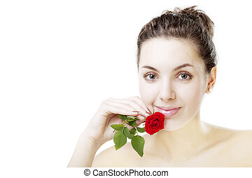 Beautiful girl with a rose