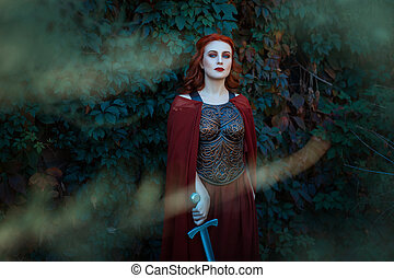 Beautiful girl with a sword standing and looking. Gothick style.