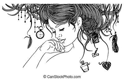 Beautiful girl with an unusual hairdo