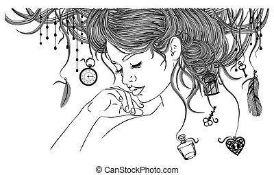 Beautiful girl with an unusual hairdo - in the girl's hair ...