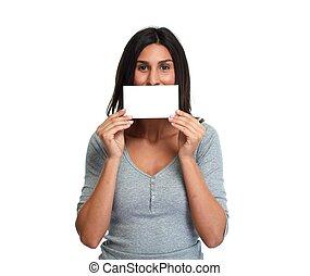 beautiful girl with blank card.