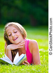 beautiful girl with book